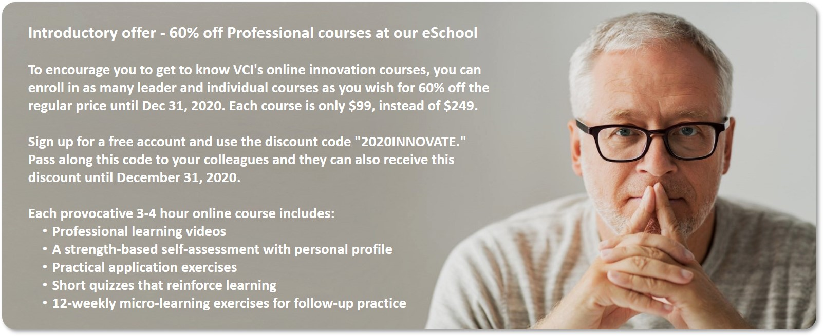 Introductory offer - 60% off Professional online courses